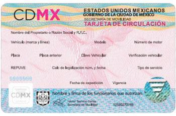 Tarjeta de circulación CDMX